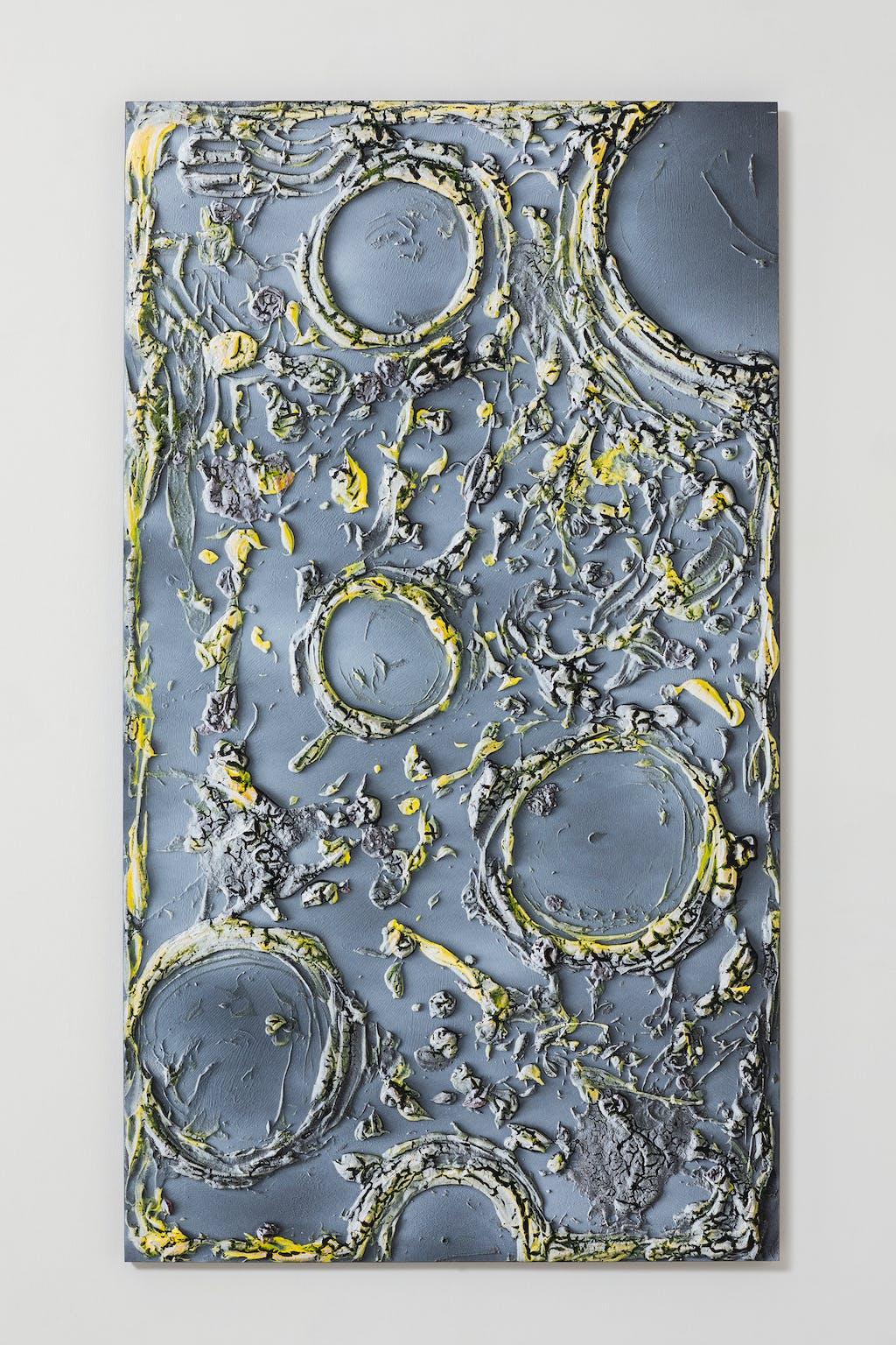 Untitled (CHEESE), 2020 Mdf, glue, acrylic paint, spray paint, vinyl 139 x 77,5 cm - © Paris Internationale