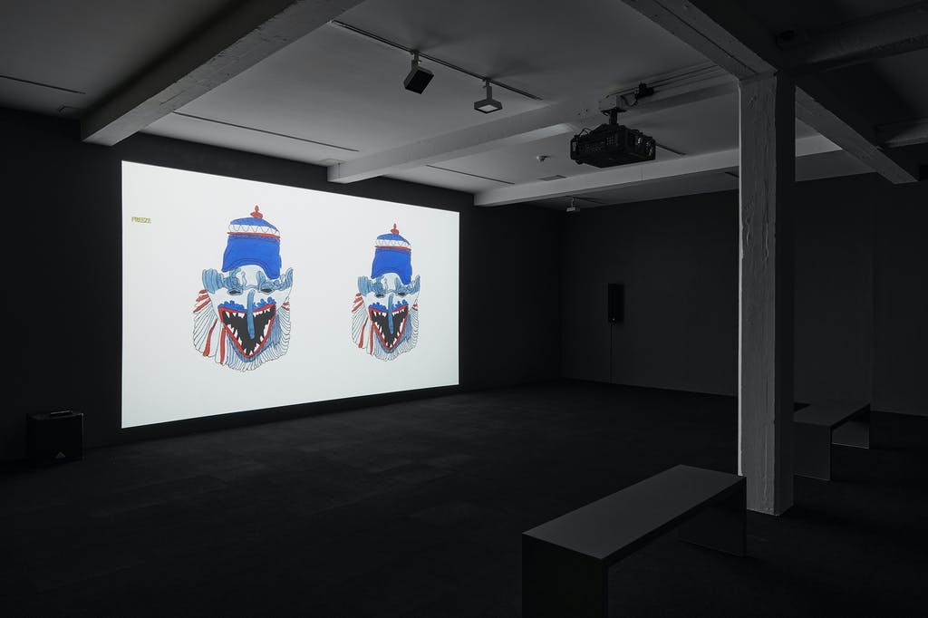 Christine Rebet's film Breath In Breath Out viewed here installed at Parasol Unit for London. - © Paris Internationale