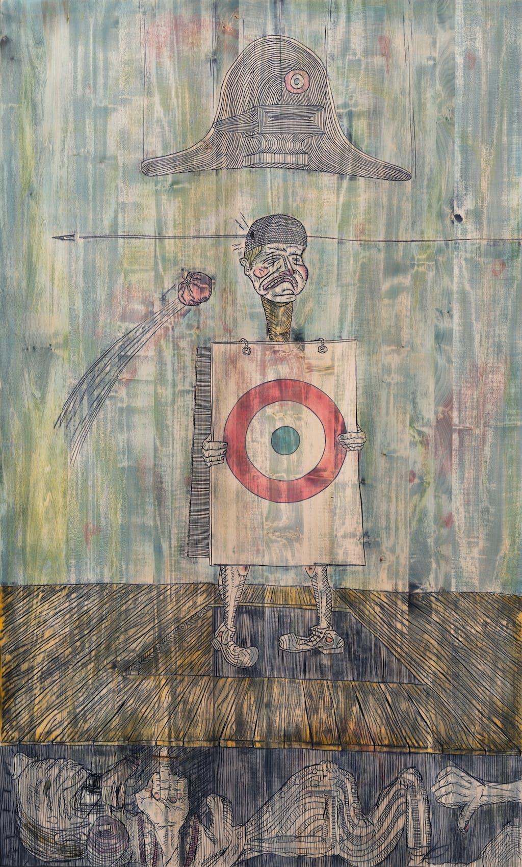 Mathis Collins *Artiste policier cible de toutes les critiques, Artiste policier hué, Artiste policier mort de rire*, 2020 Lime wood, tint 200 x 360 x 3 cm - © © Benoît Mauras, Paris Internationale