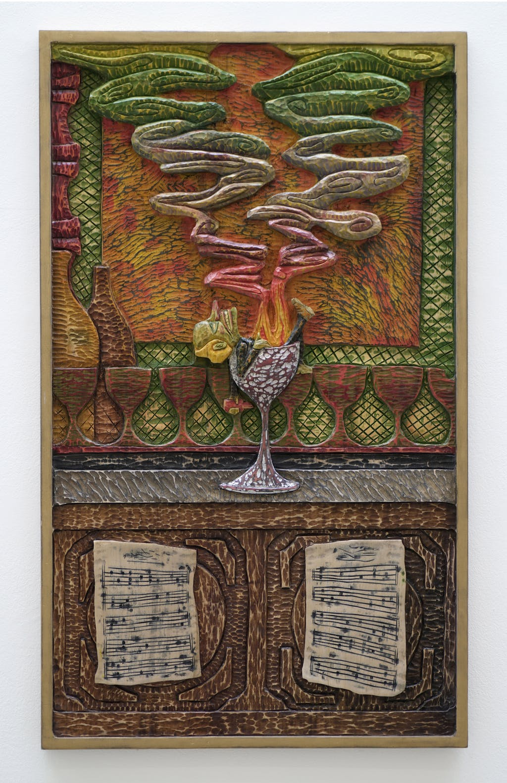 Mathis Collins *Le buveur d'absinthe*, 2020 Lime wood, pigments 90 × 54,5 cm - © © Renaud Jerez, Paris Internationale