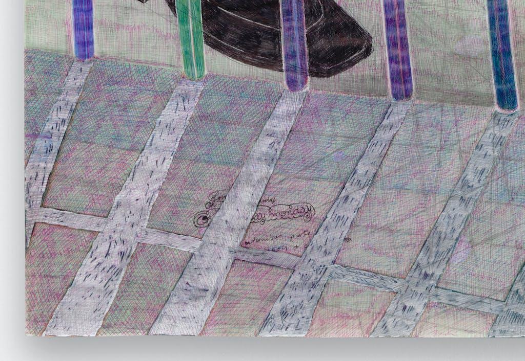 Anne Bourse *Stupid sun who can't stop moving (LetsClub4Chemins)*, 2020 Felt-tip pen, pencil, typex and ballpoint pen on coated paper 47 × 32 cm - © © Aurélien Mole, Paris Internationale