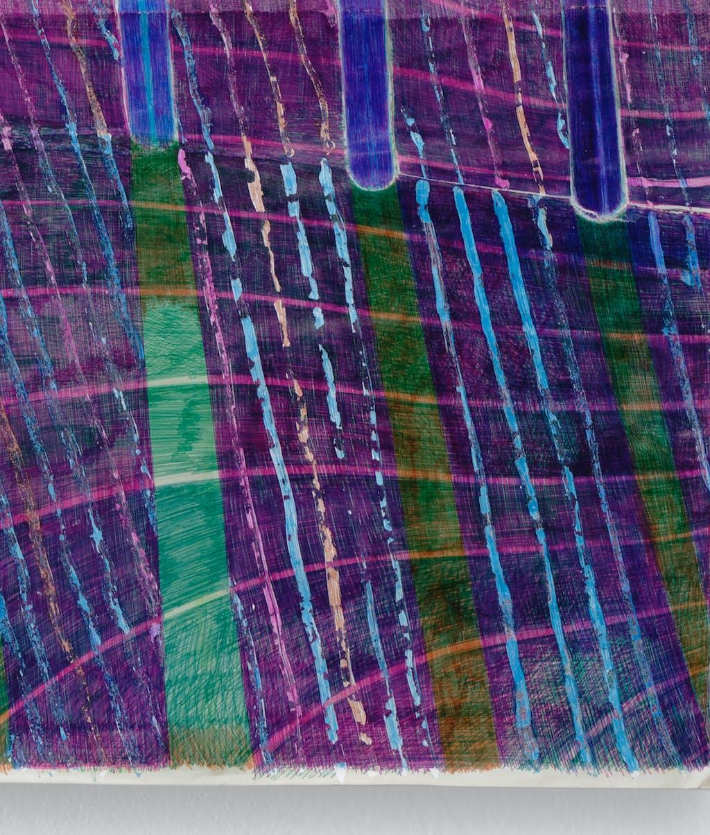 Anne Bourse *Stupid sun who can't stop moving (love is a jail)*, 2020 Felt pen, typex and ballpoint pen on coated paper 46 × 32 cm - © © Aurélien Mole, Paris Internationale