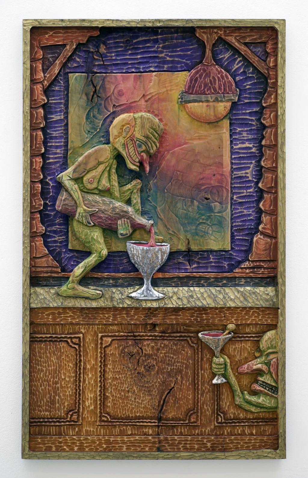 Mathis Collins *The Olive*, 2020 Lime wood, pigments 90 × 54,5 cm - © © Renaud Jerez, Paris Internationale