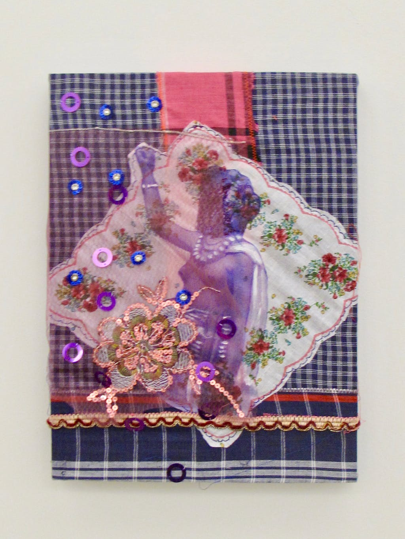 Patricia Kaersenhout Distant Bodies, 2011 Collage of textiles, photographic print on handkerchief Pangi Fabric, glitters, embroidery, stitching, paint 40 x 30 cm, unique (PK2011-2) - © Paris Internationale