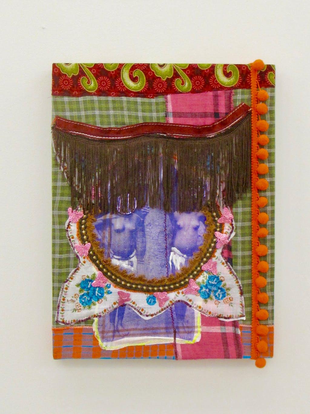 Patricia Kaersenhout Distant Bodies, 2011 Collage of textiles, photographic print on handkerchief Pangi Fabric, glitters, embroidery, stitching, paint 40 x 30 cm, unique (PK2011-1) - © Paris Internationale