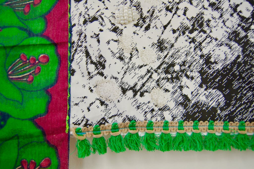 Patricia Kaersenhout Food for Thought - Elma Francois, 2018 Collage of textiles, photographic print on cotton, beads, African fabric, felt 120 x 110 cm, unique (pi 3.) (detail) - © the artist and Wilfried Lentz Rotterdam, Paris Internationale