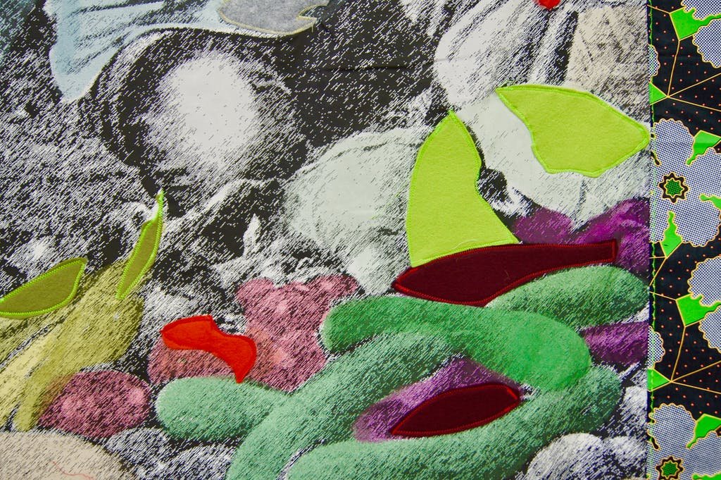 Patricia Kaersenhout Food for Thought - Paulette Nardal, 2018 Collage of textiles, photographic print on cotton, beads, African fabric, felt 147 x 109 cm, unique (PI-3) (detail) - © the artist and Wilfried Lentz Rotterdam, Paris Internationale
