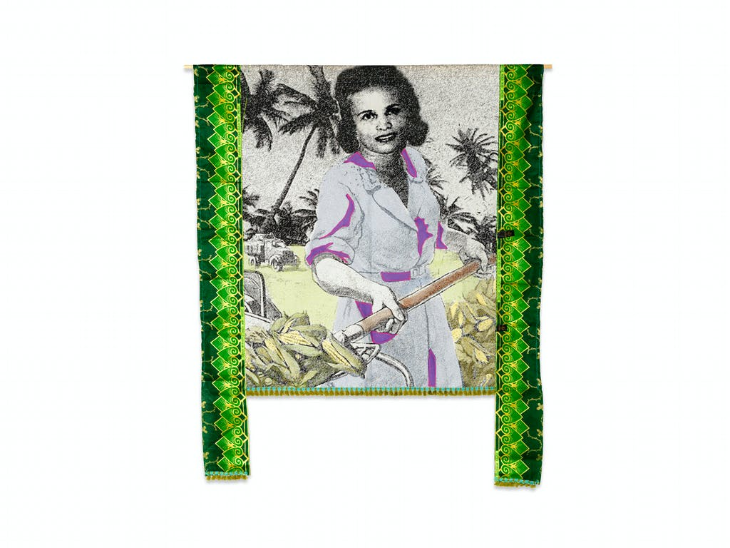 Patricia Kaersenhout Food for Thought-Suzanne Césaire, 2018 128 x 105 cm, unique (PI-1 ) Collage of textiles, photographic print on cotton, beads, African fabric, felt - © the artist and Wilfried Lentz Rotterdam, Paris Internationale