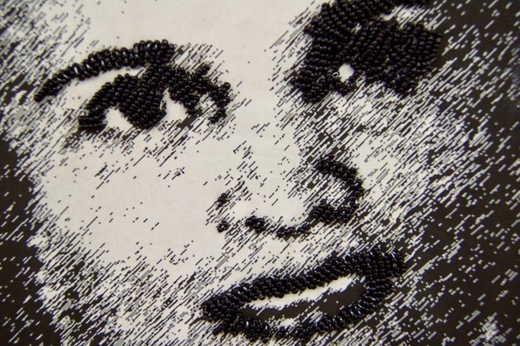 Patricia Kaersenhout Food for Thought - Suzanne Césaire, 2018 128 x 105 cm, unique (PI-1) (detail)  Collage of textiles, photographic print on cotton, beads, African fabric, felt - © the artist and Wilfried Lentz Rotterdam, Paris Internationale