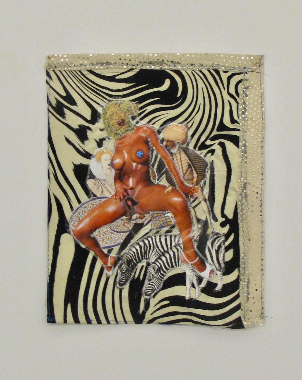 Patricia Kaersenhout Your History Makes Me So Horny, 2011 mixed media on textile, 50 cm x 40 cm, framed in perspex box (5) - © Paris Internationale